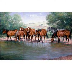 Gericault Grey Horse Marble Mural Backsplash Kitchen 20x16 in