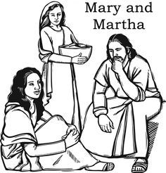 Jesus with Mary and Martha Color Page