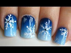 Gradient Snowflake Nails