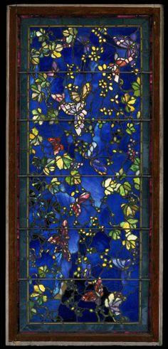 """Butterflies and Foliage"" window, John La Farge, 1889, leaded stained glass, 71 1/2 x 32 3/8 x 1 3/4"", Museum of Fine Arts, Boston."