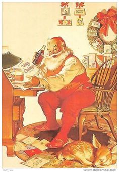 ️Vintage Coca Cola Christmas Ad: Santa Claus Drinking Coca Cola sitting on a Chair. Coca Cola Christmas, Christmas Ad, Vintage Christmas, Holiday, Xmas Cards, Vintage Ads, Santa, Illustration, Drinking
