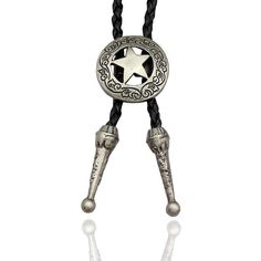 Q&Q Fashion Western Southwest Men Texas Ranger Star Leather Rodeo Bolo... ($12) ❤ liked on Polyvore featuring men's fashion, men's accessories, men's neckwear, ties, mens neck ties, mens leather tie, mens neckties, mens western bolo ties and mens ties
