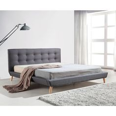 Your master bedroom deserves the best. Add instant elegance and luxury to your existing decor with the Linen Fabric King Bed Frame and Button Tufted Headboard. Grey Bed Frame, King Size Bed Frame, Bed Frame And Headboard, Bed Frames, Room Color Schemes, Room Colors, Hotel Collection Bedding, Panel Bed, Tufting Buttons