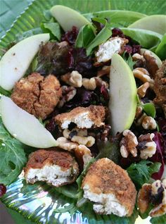 Herbed Baked Goat Cheese Salad with Apples,Walnuts, and Cranberries