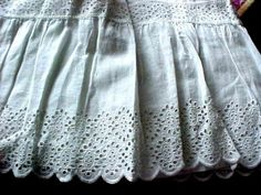 ANTIQUE RARE LONG VICTORIAN PETTICOAT/SKIRT w/BRODERIE ANGLAISE  /EYELET LACE