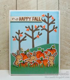 Lawn Fawn - Sweater Weather + coordinating dies, Snow Day + coordinating dies, So Thankful + coordinating dies, Stitched Hillside Borders, Stitched Rectangle Stackables, Grassy Border, Sweater Weather 6x6 paper _ super fun Fall scene by Heidi _ Lawnscaping Challenge guest designer | Flickr - Photo Sharing!