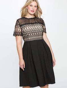 Fit and Flare Nude Detail Dress | Women's Plus Size Dresses | ELOQUII