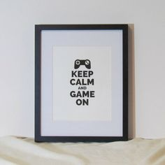 Keep Calm and Game On Video Gamer Decor Man Cave Art Print Boys Bedroom Decor Instant Digital Download
