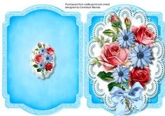 print and Fpld lovely mixed roses on lace  on Craftsuprint designed by Ceredwyn Macrae - A lovely quick and easy card to make and give to anyone with Lovely Mixed roses on lace a lovely card ,  - Now available for download!