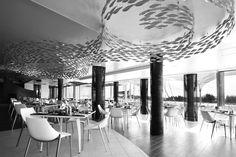 "Sch of fish over me. scabetti installations of shoal @ konoba restaurant--- ""SCHOOL OF FISH"" - hm Restaurant Bar, Restaurant Concept, Western Restaurant, Restaurant Lighting, Bar Lounge, La Grande Motte, Nautical Interior, Fish Sculpture, Restaurant Interior Design"