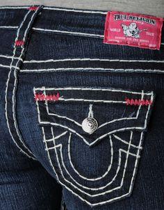 Womens Julie Natural Super T W/ Fuchsia Bartacks Jean - (Lonestar) | True Religion Brand Jeans