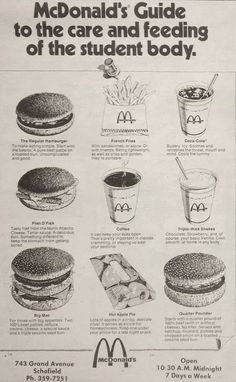 "Sept. 1975 - McDonald's ad in the Wausau Daily Record Herald. ""McDonald's guide to the care and feeding of the student body"""