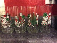 Vintage 1980 Coca Cola Coke HOLLY HOBBIE Christmas Happy Holiday set 1-4 glasses