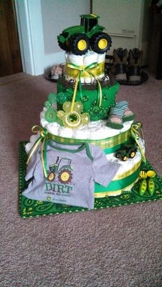 John Deere diaper cake Auntie made for Carson!