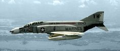 A F-4B Phantom II of Marine fighter-bomber squadron VMFA-314 Black Knights over Vietnam, c. 1966. Agile and indestructible, the F4 is remembered by most of those who flew her as a solid machine inspiring confidence and respect. Modernized and refitted F4s still remain in service with numerous air forces around the world.
