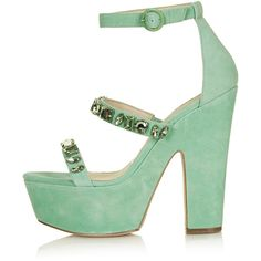 TOPSHOP LEAH Jewel Platform Sandals ($100) ❤ liked on Polyvore featuring shoes, sandals, heels, mint, high heel platform sandals, leather platform shoes, leather sandals, platform heel sandals and jewel sandals