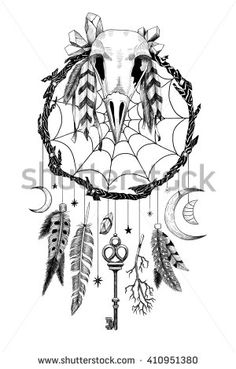 Detailed mystical dreamcatcher made of branches with crow's skull and a key…
