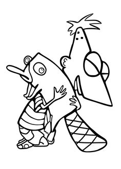 phineas hugs perry coloring pages for kids printable free phineas and ferb