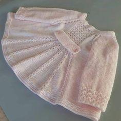Baby Knitting Patterns, Shrug Knitting Pattern, Knitting For Kids, Lace Knitting, Crochet Baby Cardigan, Knit Baby Sweaters, Knit Baby Booties, Knit Crochet, Knit Baby Dress