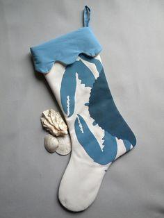 "Blue crab Christmas 24"" stocking"