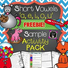 This short vowels free sample activity pack includes pages from my 5 short vowel MEGA activity packs! All pages are common core aligned. #TpT #TeacherGems #LanguageArts #ShortVowels
