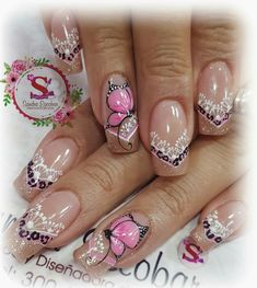 Quiero este modelo Cute Pedicure Designs, Pretty Nail Designs, Toe Nail Designs, Love Nails, Pretty Nails, Ongles Beiges, Nancy Nails, Butterfly Nail Designs, Mobile Nails