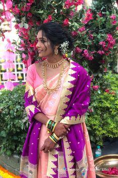 Bridal Silk Saree, Saree Wedding, Wedding Wear, Wedding Pics, Wedding Dress, Marathi Bride, Marathi Wedding, Mirror Work Lehenga, Elegant Bun
