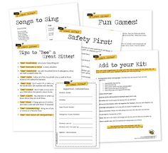 """Wendy's Activities: """"Bee"""" a Great Sitter! Good resource for Cadettes working on the Babysitting badge. Build an kit full of age-appropriate activities."""