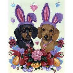 Precious Pet Paintings 3.33-Ft X 2.33-Ft Dachshund Easter Flag Lf1050