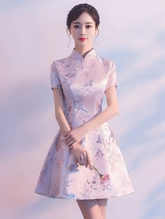 Pink A-Line Silver Woven Qipao / Cheongsam Party Dress Source Cheongsam, Cheongsam modern, Cheongsam Ao Dai, Pretty Dresses, Beautiful Dresses, Cheongsam Modern, Mode Kimono, Cheongsam Dress, Korean Dress, Traditional Dresses, Korean Traditional Dress