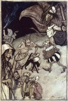 Witches and warlocks, ghosts, goblins and ghouls. Arthur Rackham, from The Ingoldsby legends, by Thomas Ingoldsby (Richard H. Barham), London, New York, 1907. (Source: archive.org.)
