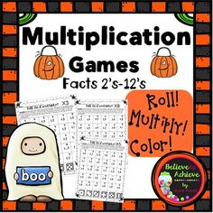 Multiplication Games (2's to 12's) Halloween Theme Students will LOVE playing these games to  work on those multiplication facts! Children work in partners with these game boards, dice, and crayons to roll, multiply and color!