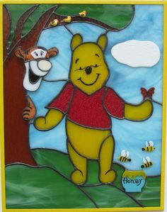 """Pooh & Tigger Stained Glass Panel - Winnie the Pooh with Tigger looking out from behind the treeis approx. 18"""" x 12"""" with a 1/4 zinc frame painted yellow. The honey pot, birds, bees, butterfly, cloudand Tigger are overlayed on top of the background to give a 3D effect. Piece is located in Phoenix, Arizona"""