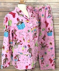 4cb1d699c9 Nick   Nora Womens Size Large Pajama Set Sock Monkey Flannel Pink Christmas  Tree  NickNora  PajamaSets  Everyday