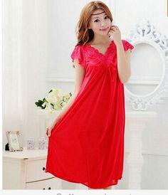 送料無料女性赤い レース の セクシー な寝間着女の子プラス サイズ大サイズ パジャマ ナイト ガウン ナイト ドレス スカート Y02-4