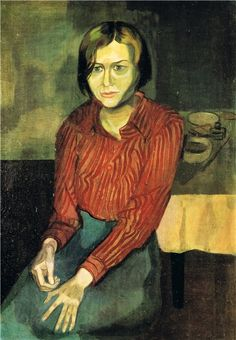 """Hans Grundig (Germany 1901-1958), Bildnis Helen Ernst, oil on canvas, 1934. Helen Ernst (Greece 1904-1948) was a German artist, sympathetic to Communism, whose work was declared """"degenerate"""" by the Nazis. She resisted the regime, emigrated to the Netherlands, but with its occupation she was deported and sent to the Ravensbrück concentration camp for more than 4 years. She died of tuberculosis as a result of her time there. Collection Staatliche Galerie Moritzburg, Halle (Saale), Germany."""