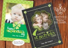 "St. Patrick's Day Photoshop Card Templates from 2 june bugs - perfect for sending ""Welcome Spring"" greetings to family and friends!"