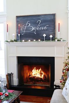 Christmas Mantel & Easy Chalkboard tutorial found on Finding Home Farms