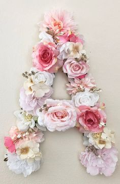 Flower Letter Floral Letter Pink and Gold Name Sign Pink and Gold Nursery Decor Pink Birthday Decor Gold Birthday Floral Nursery Theme Gold Nursery Decor, Floral Nursery, Nursery Themes, Nursery Ideas, Flower Letters, Diy Letters, Nursery Letters, Letter Wall Decor, Bridal Shower Decorations