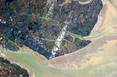 Essex from the International Space Station. You can see the mouth of the River Thames with the River Crouch above and the River Roche branching off it.  Thanks to Cmdr Chris Hadfield aboard the ISS!
