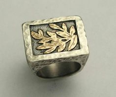 Sterling silver and gold leaves statement ring - Love is everything