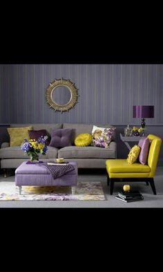 סלון אפור צהוב סגול