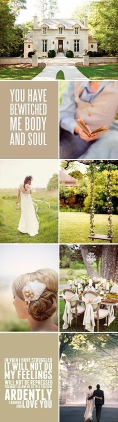 Jane Austen wedding, Pride and Prejudice themed. Beautiful colors in burlap, green and cream http://www.mybigdaycompany.com/weddings.html