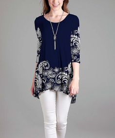 Another great find on #zulily! Blue & White Floral Cutout Tunic - Plus #zulilyfinds