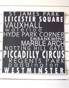 12x12 LONDON Underground Tube Stations, Square, Bus Roll, Black and White, Typography Modern Art Print. $22.00, via Etsy.