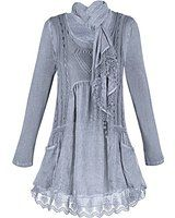 Women's Tunic Top Set - Sky Lace Tunic, Scarf And Pullover