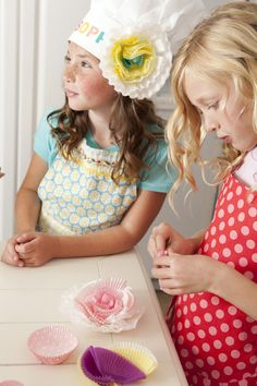 Baking Party:  decorate chef hat with cupcake wrapper flowers