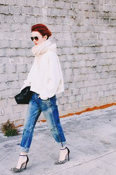 fab heels/jeans/comfy sweater/scarf/clutch