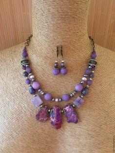 """Купить """"Чернослив"""" Бусы и серьги из камней Бусы сиреневые камни Комплект - фиолетовый"""