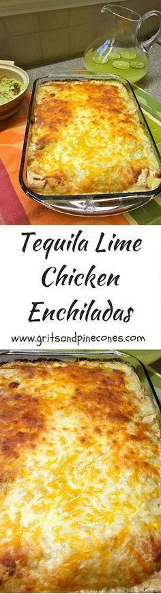 Tequila Lime Chicken Enchiladas features chicken marinated in tequila, lime juice, and brown sugar in a tortilla with cheese and salsa verde.   via @http://www.pinterest.com/gritspinecones/